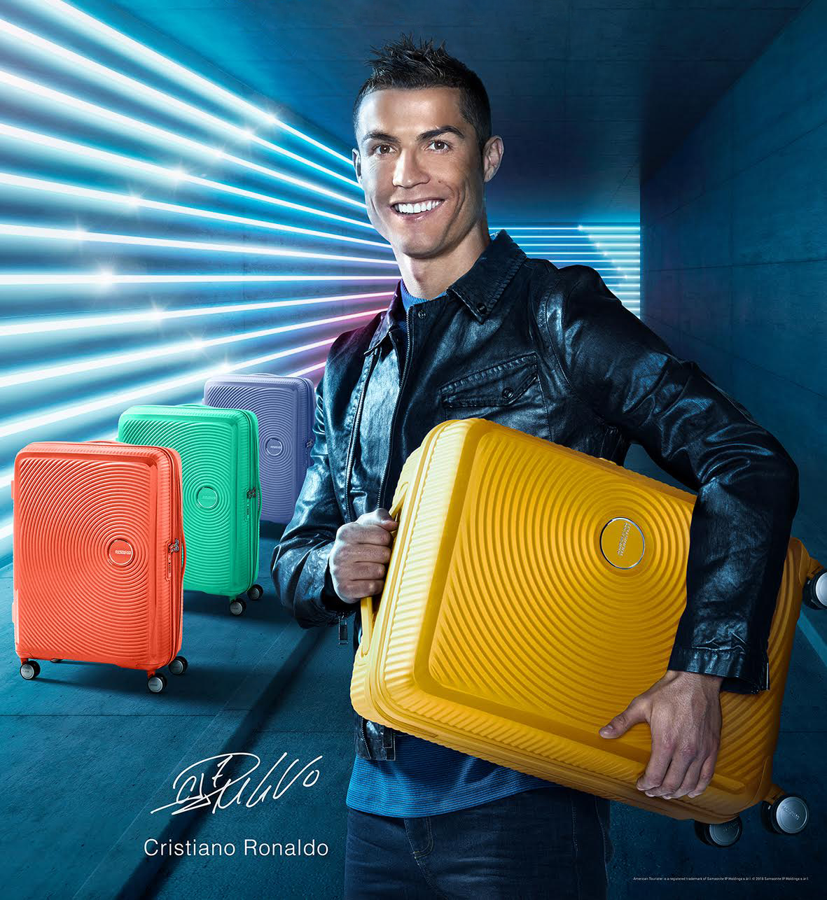 Cristiano Ronaldo with Samsonite suitcases